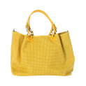 kožená kabelka itálie shoperka žlutá